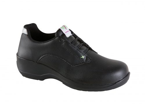 TOESAVERS Ladies Black Microfibre Lace Safety Shoe with PU Sole