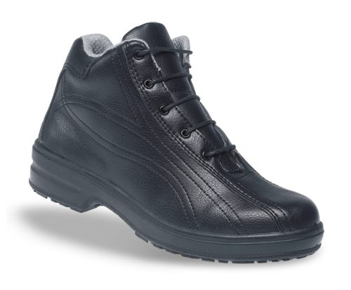 TOESAVERS Ladies Black Microfibre Safety Boot with PU Sole
