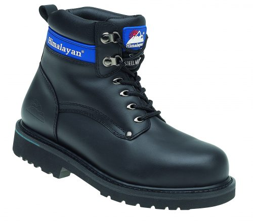 HIMALAYAN Black Full Grain Leather Goodyear Welted Safety Boot with Midsole