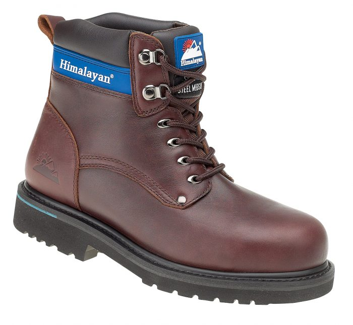 HIMALAYAN Brown Full Grain Leather Goodyear Welted Safety Boot with Midsole