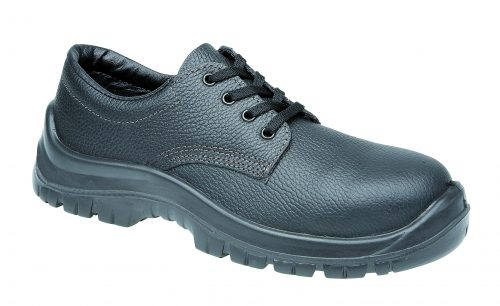 TOESAVERS Black Leather Safety Shoe with Dual Density Sole