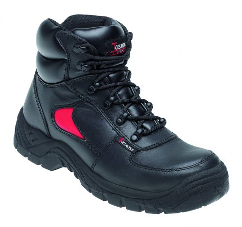 TOESAVERS Black Leather Safety Shoe with Dual Density Sole & Midsole