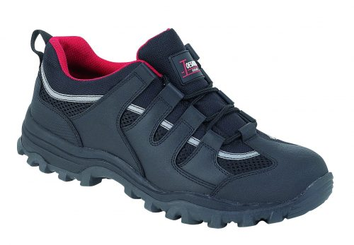 TOESAVERS Black Leather Safety Trainer Steel Midsole