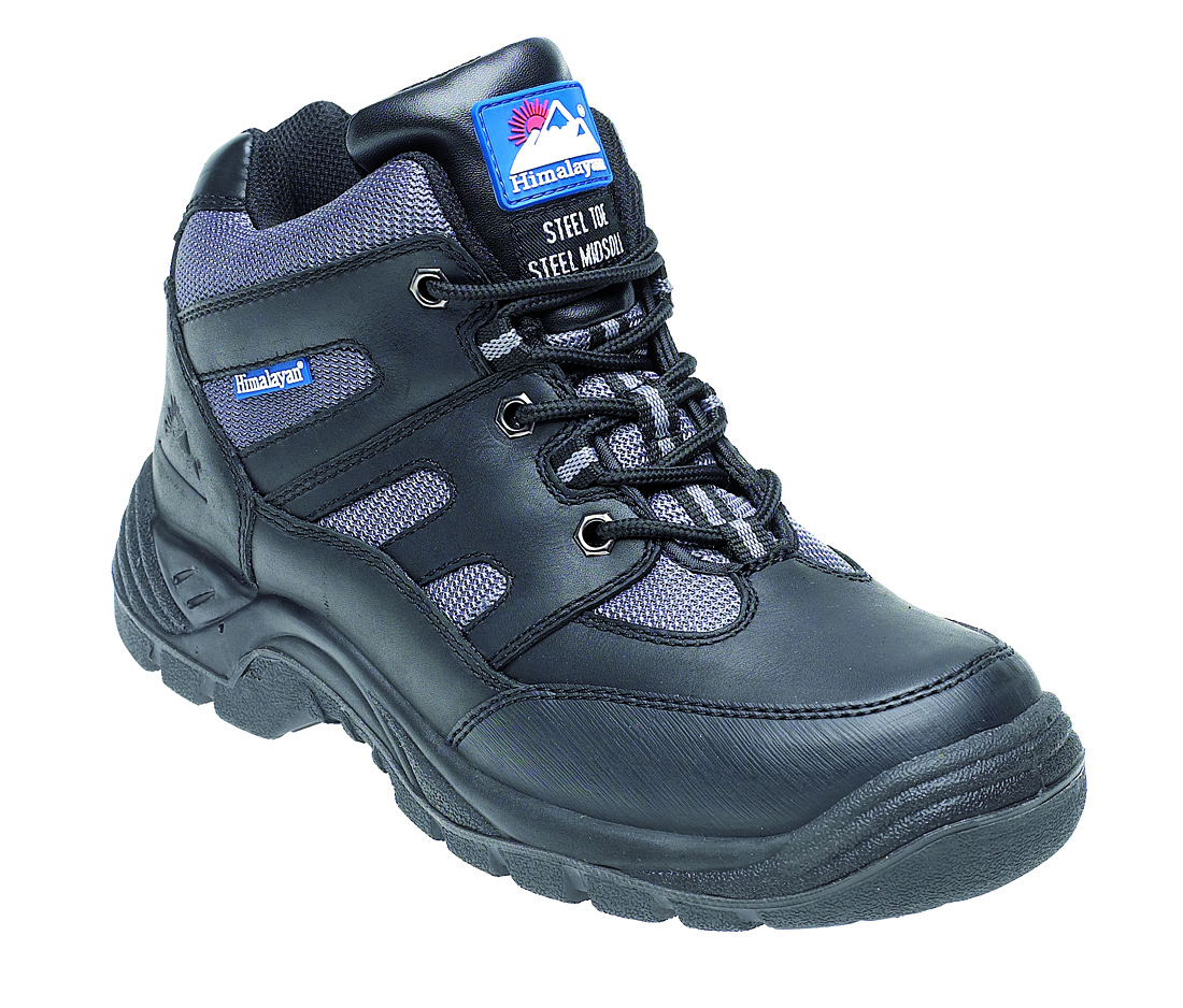 HIMALAYAN Black/Silver Leather/Nylon Safety Cross Trainer Boot, TPU Sole & Midsole
