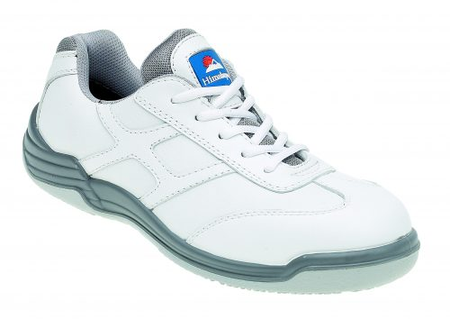 HIMALAYAN White Leather Safety Trainer Metal Free Cap/Midsole PU Rubber Sole