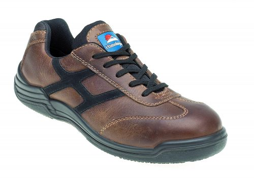 HIMALAYAN Tan Leather Safety Trainer Metal Free Cap/Midsole PU Rubber Sole