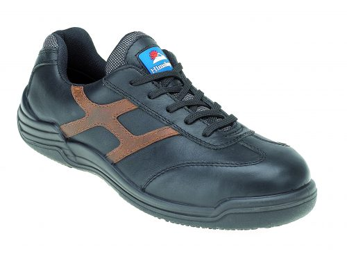 HIMALAYAN Black Leather Safety Trainer Metal Free Cap/Midsole PU Rubber Sole