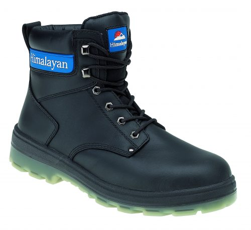 HIMALAYAN Black Leather Boot with Midsole TPU Sole