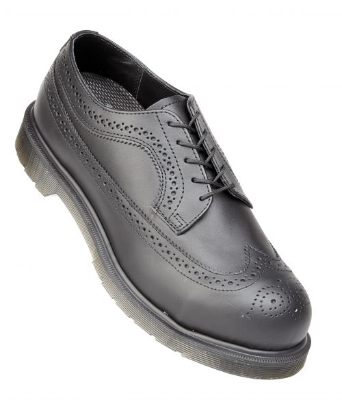 DR MARTENS Executive Black Smooth Leather 4 Eyelet Lace Brogue Safety Shoe