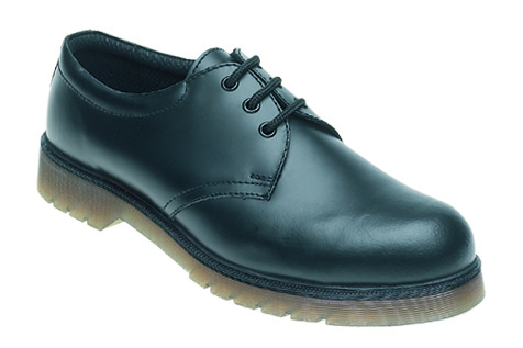TOESAVERS Black Leather Safety Shoe with Aircushioned PVC Sole
