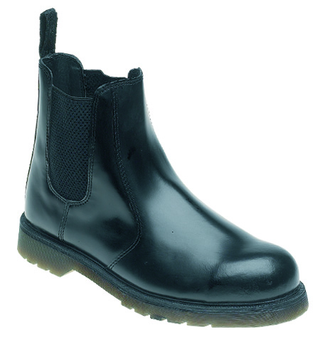 TOESAVERS Black Leather Safety Dealer Boot with Aircushioned PVC Sole