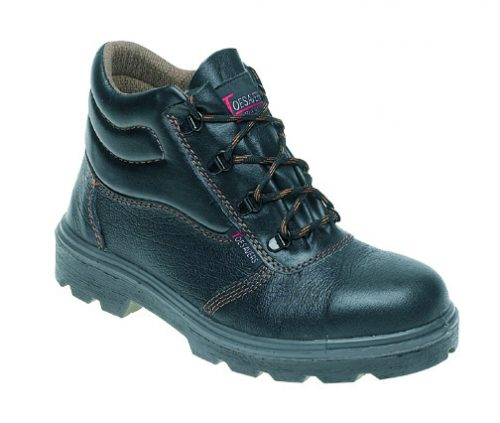 TOESAVERS Black Leather Safety Boot with Dual Density Sole