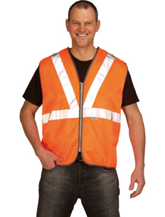 Hi-Vis Orange Tracker Waistcoat c/w Stud Fastening Shoulders And Sides And Zip Front