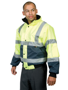 Hi-Vis Two Tone Yellow And Blue Bomber Jacket