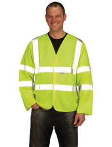 Hi-Vis Yellow Long Sleeved Double Banded Waistcoat