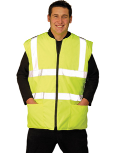 Hi-Vis Yellow Twill Lined Reversible BodyWarmer