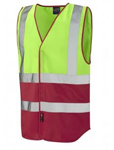 PILTON - Dual Colour Reflective Waistcoat – Lime Green & Red