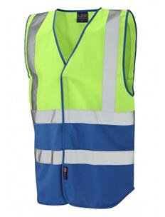 PILTON - Dual Colour Reflective Waistcoat – Lime Green & Royal Blue