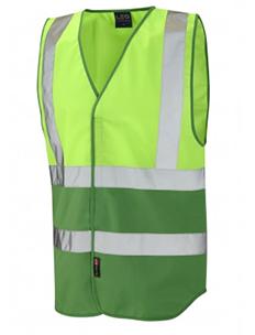 PILTON - Dual Colour Reflective Waistcoat – Lime Green & Emerald Green