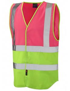 PILTON - Dual Colour Reflective Waistcoat – Pink & Lime Green