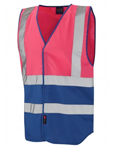 PILTON - Dual Colour Reflective Waistcoat – Pink & Royal Blue