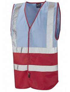PILTON - Dual Colour Reflective Waistcoat – Sky Blue & Red