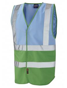 PILTON - Dual Colour Reflective Waistcoat – Sky Blue & Emerald Green