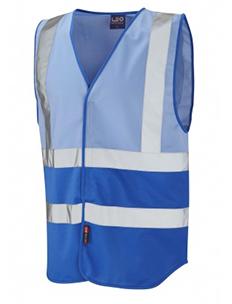 PILTON – Dual Colour Reflective Waistcoat – Sky Blue & Royal Blue
