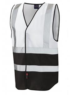 PILTON – Dual Colour Reflective Waistcoat – White & Black