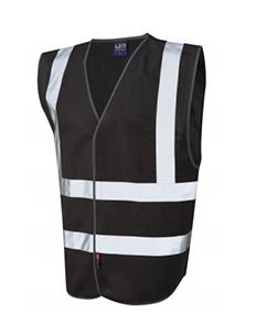 PILTON - Single Colour Reflective Waistcoat - Black