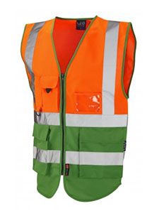 LYNTON - Class 2 Superior Waistcoat - Orange & Emerald Green