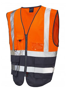 LYNTON - CLASS 1 SUPERIOR WAISTCOAT - Hi Vis Orange & Navy
