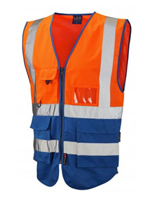 LYNTON - Class 2 Superior Waistcoat - Hi Vis Orange & Royal Blue