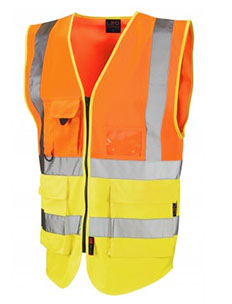 LYNTON - Class 2 Superior Waistcoat - Hi Vis Orange & Hi Vis Yellow