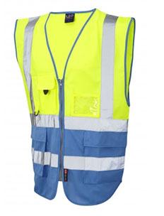 LYNTON - Class 1 Superior Waistcoat - Hi Vis Yellow & Deep Sky Blue