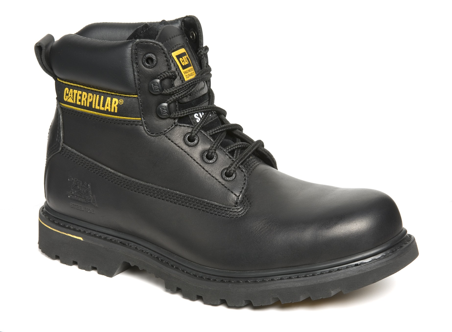 8dcd3f08ae9 CATERPILLAR Holton Black Leather Goodyear Welted Safety Boot – Blu-Frog